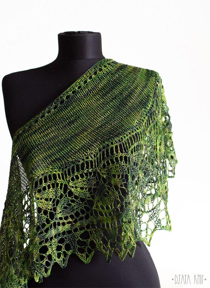 Купить Зеленый ажурный шарф - теплый платок, шерстяной платок, теплая шаль, бактус, шерсть