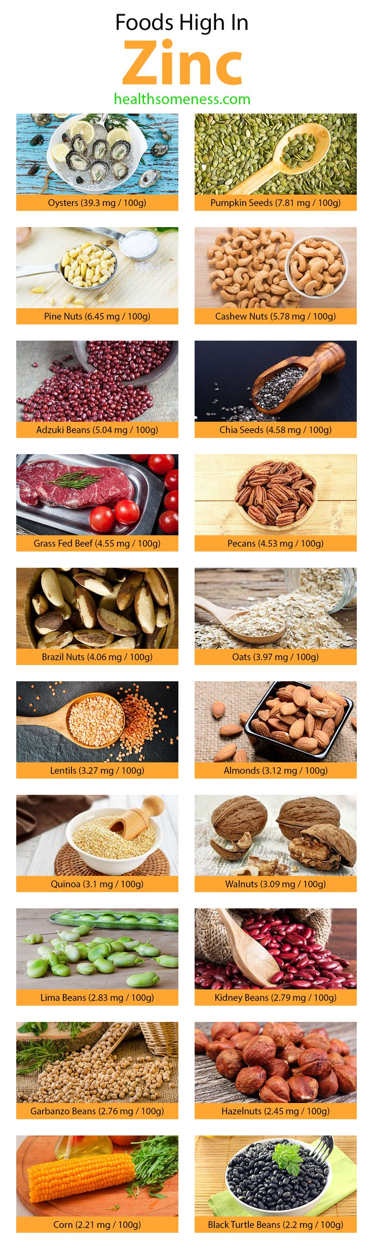 The top 20 foods highest in Zinc. Click on the image to discover 50+ healthy zinc rich foods that you should add to your diet today!