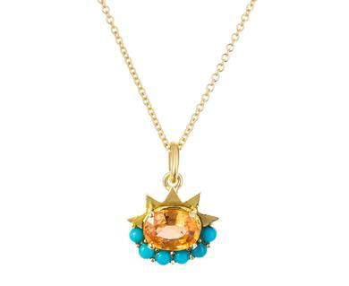 Ileana Makri - Turquoise and Sapphire Dream Flower Pendant Necklace in Our Edits April Flowers at TWISTonline
