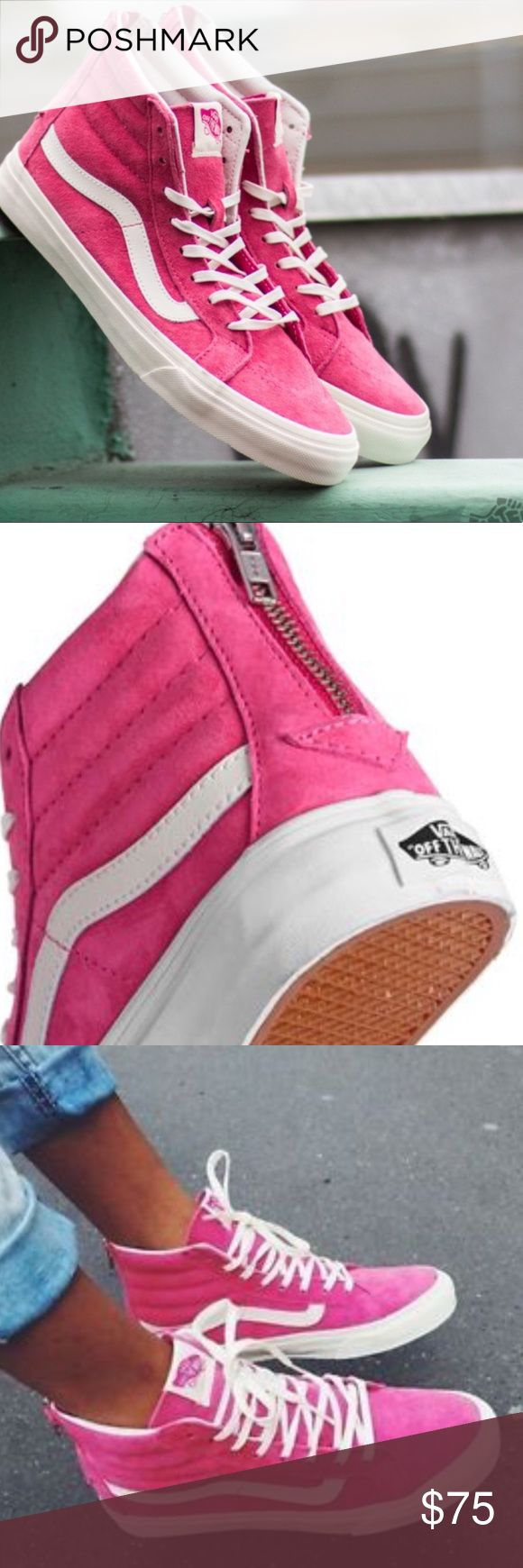 😘'SALE'😘SK8-HI SLIM ZIP HOT PINK SZ 8 Vans The Scotchgard Sk8-Hi Slim Zip combines a slimmed down version of the legendary lace-up high top with a zipper entry at the heel, Scotchgard®-treated uppers for superior durability, signature waffle rubber outsoles, and padded collar and heel counters for support and flexibility. Size 8 women. Vans Shoes Sneakers