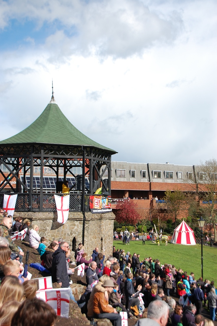 Crowds watching the jousting for St George's Day, Tamworth Castle Grounds, April 2012