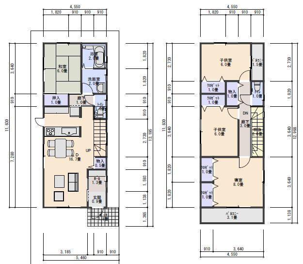 狭小間口の間取り31.5坪、南入り2.5間4LDK 住宅プラン