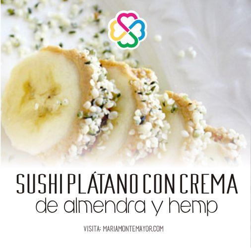 Ingredientes: • 1 plátano • 2 cdas.de crema de almendra o de cualquier otra nuez • 2 cdas. de semillas de hemp   1. Pela el plátano y unta la crema de almendra en la mitad superior del plátano.  2. Espolvorea las semillas de hemp y rebánalo en rodajas  3. ¡Disfrútalo!  Visita: http://www.mariamontemayor.com/#!el-arte-de-nutrir-tu-cuerpo/c19wa