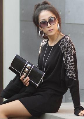2013 Fledermaus ärmel Leoparden langärmeligen schwarz T-Shirt aus DE