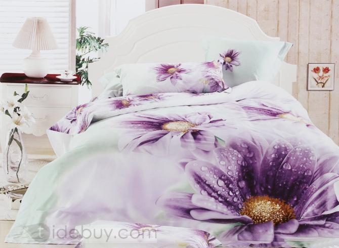 Lifelike 4 Piece Purple Flower With Dew 100% Cotton Printed Bedding Sets    Beddinginn.