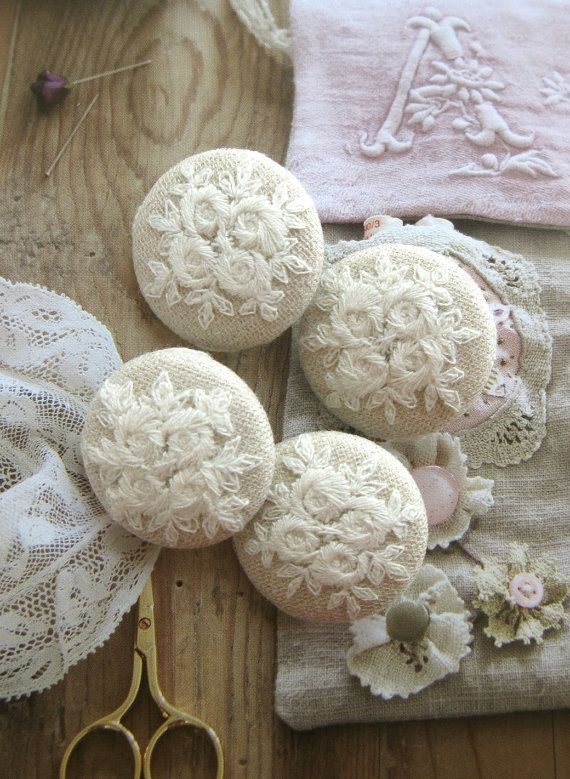 Handmade Fabric Buttons Retro Large Beige White by RetroNaNa, $7.50