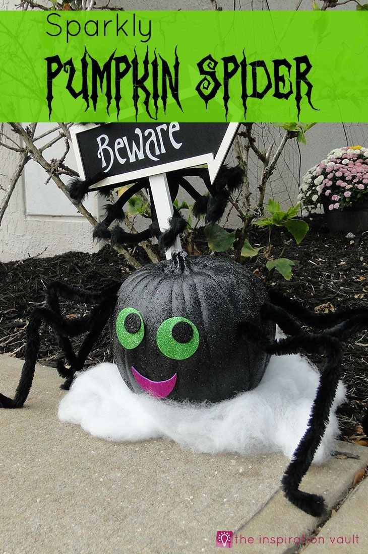 Sparkly Pumpkin Spider Halloween Craft Tutorial