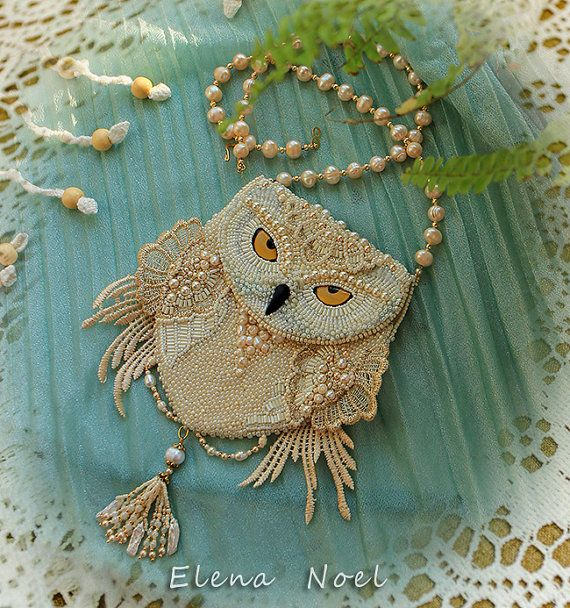 Snowy owl beaded necklace coin bag with owl Pinned by www.myowlbarn.com