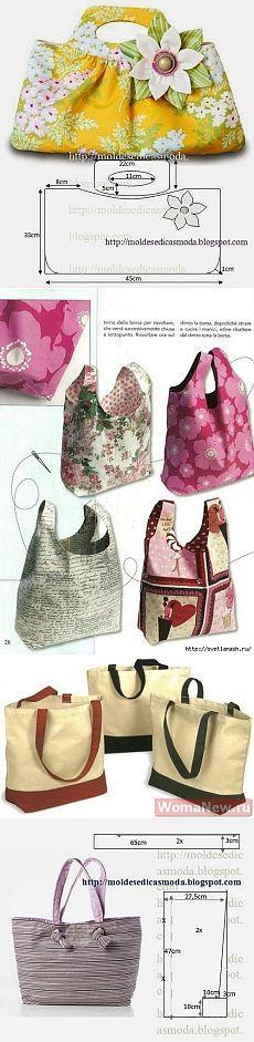 Несколько сумок с выкройками