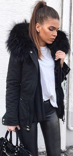 #winter #fashion / Black Jacket + White Tee + Black Skinny Jeans