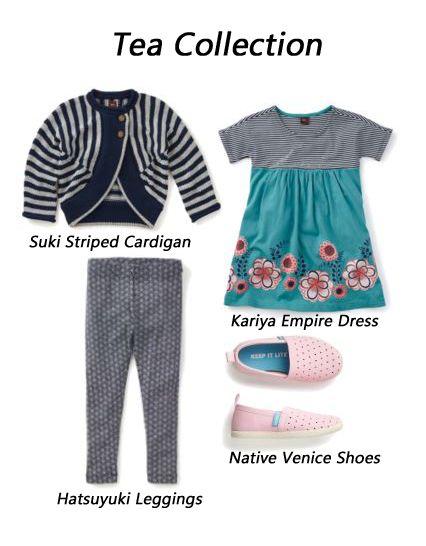Tea Collection Suki Striped Cardigan Kariya Empire Dress Hatsuyuki Leggings Native Venice Shoes