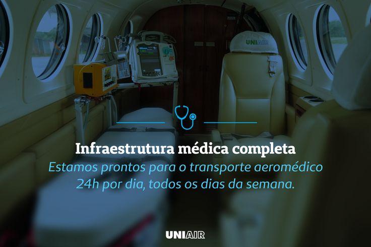 A Uniair também atua no transporte aeromédico nas mais diversas situações clínicas que necessitem de suporte em UTI adulto, pediátrico e neonatal.