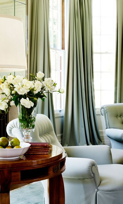 Vintage French Soul ~  The neutral pallet, warm woods and muted soft green drapes very tranquil .