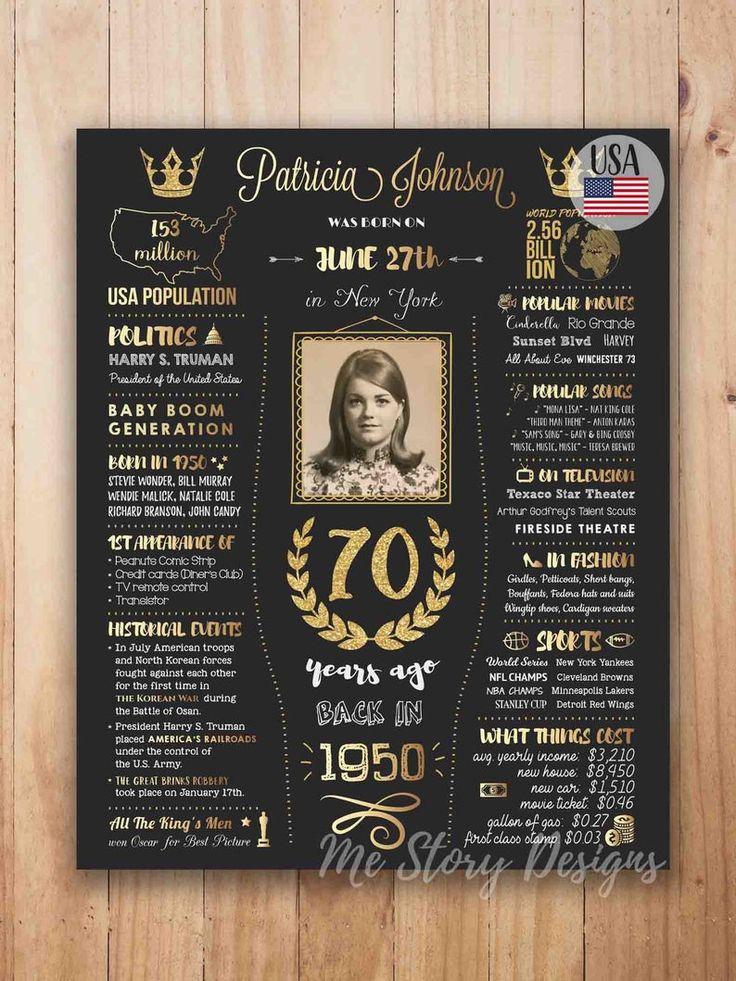 1950 birthday poster PRINTABLE, 70th birthday gift for men