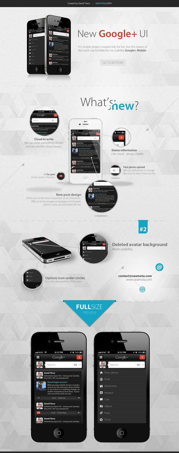 Google Plus UI by WildDawid.deviantart.com #mobile #iphone #layout #overview #google #19102012