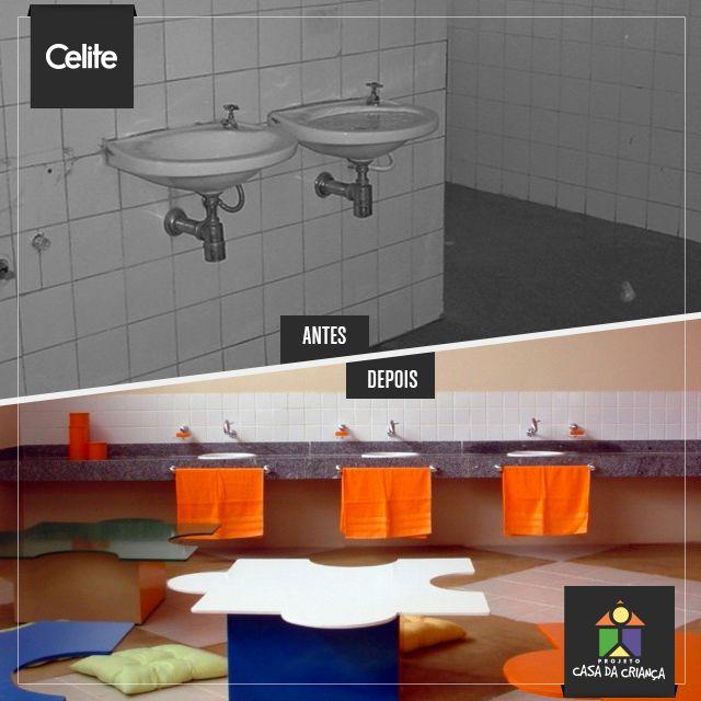 As unidades do Projeto Casa da Criança possuem instalações sanitárias cuidadosamente adequadas e decoradas, proporcionando melhoria na qualidade de vida das crianças e adolescentes atendidos e dos funcionários das 33 instituições beneficiadas.