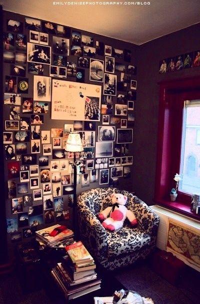 Hodge podge photo wall idea