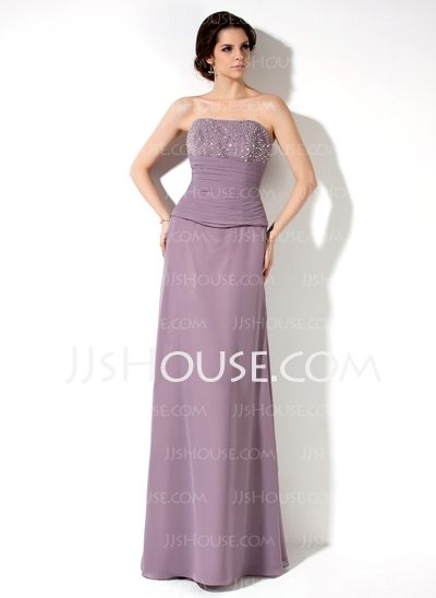 Bridesmaid Dresses - $115.99 - Sheath Sweetheart Floor-Length Chiffon Bridesmaid Dress With Ruffle Beading (007001789) http://jjshouse.com/Sheath-Sweetheart-Floor-Length-Chiffon-Bridesmaid-Dress-With-Ruffle-Beading-007001789-g1789