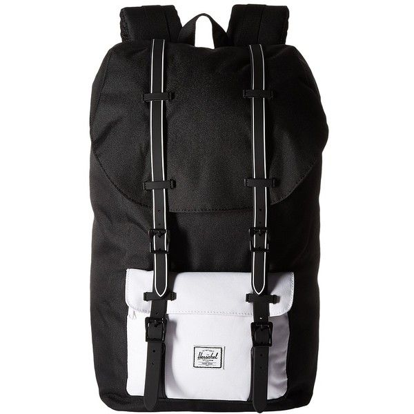 Herschel Supply Co. Little America (Black/Black Rubber/White Insert)... ($100) ❤ liked on Polyvore featuring bags, backpacks, white bag, shoulder strap backpack, backpack bags, shoulder strap bags and herschel supply co backpack