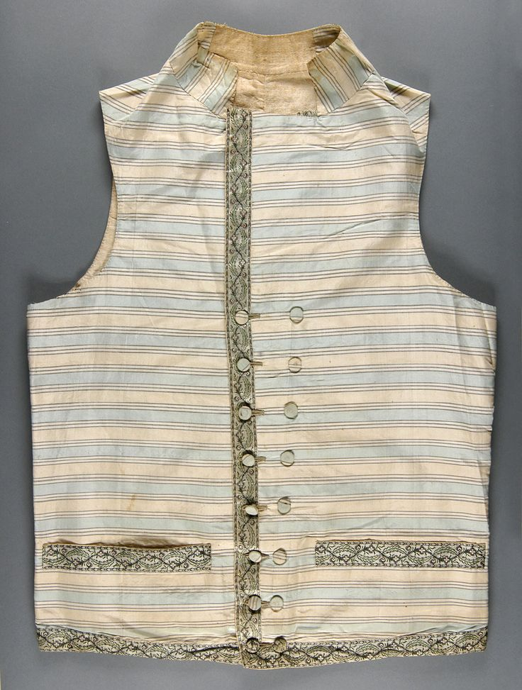 Waistcoat, England or France, c. 1785-1790. Silk with cream and bright blue woven horizontal stripes; brocaded silk ribbon; ivory linen plain weave.