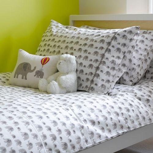 Lulu & Nat. A-dorable kids bedding, hand block printed.  Grey Elephant Duvet Cover Single