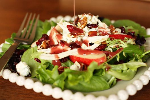 Rotisserie Chicken Apple pecan salad with dried cranberries and Marzetti Simply Dressed Pomegranate salad dressing