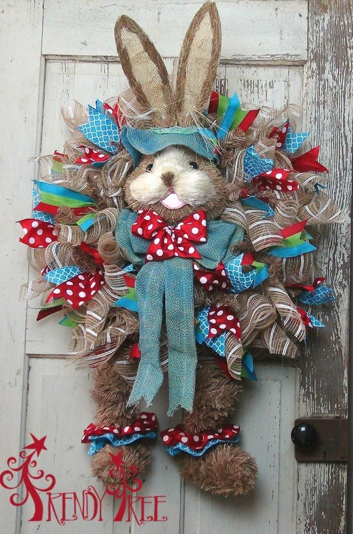 """Tutorial for Easter wreath using a large Bunny Head, poly mesh, 24"""" Work wreath, ruffle technique, ribbons and DIY bunny legs. Supplies and written tutorial ..."""