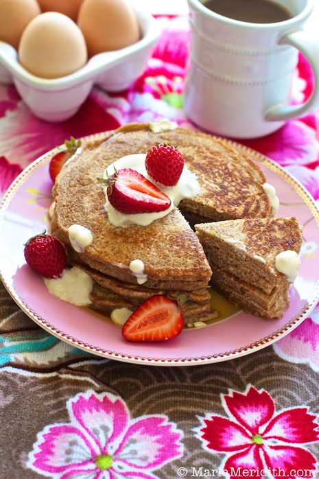 Graham Flour Pancakes with Cream Cheese Maple Sauce | recipe on FamilyFreshCooking.com