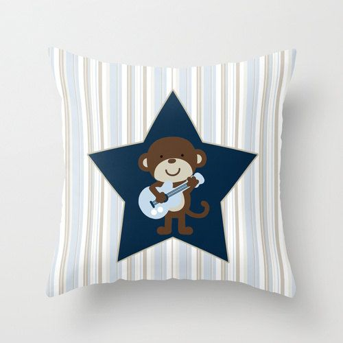 Monkey Rockstar Unique Nursery Throw Pillow Cover. by cyamonday