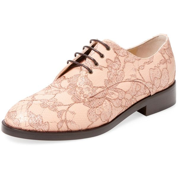 Monique Lhuillier Women's Devon Lace Oxford - Pink, Size 35.5 ($199) ❤ liked on Polyvore featuring shoes, oxfords, pink, lace oxfords, low heel shoes, oxford shoes, lace shoes and pink lace shoes