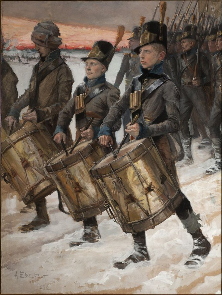 FINNISH SOLDIERS IN THE WAR OF 1808 – 1809 / Albert Edelfelt painted Finnish Soldiers in the War of 1808 – 1809, one of his key works, and one of the best known paintings in Finnish art history. Finnish Soldiers in the War of 1808 – 1809 is a history painting depicting brave Finnish soldiers marching in a wintry landscape. As a result of the Russo-Swedish war, Finland was separated from the Swedish kingdom, and annexed to the Russian empire as an autonomous grand duchy.