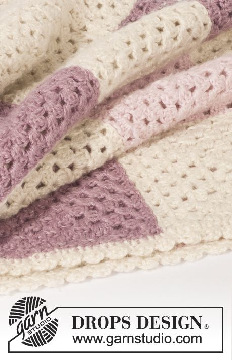 Crochet DROPS blanket with squares in BabyAlpaca Silk.  Free pattern by DROPS Design.