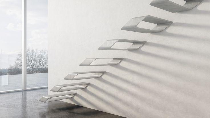 návrh schodiště z tenkostěnného betonu