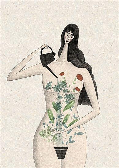 садоводство, женщина, листы, лейки, самообслуживание, тело, девушка, характер, женщина, красота, феминизм