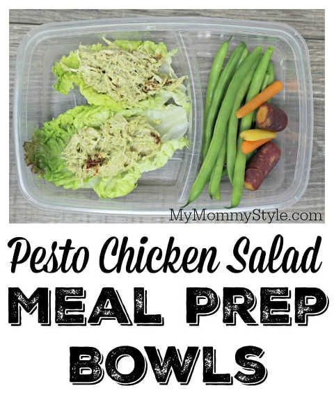 Pesto Chicken Salad Meal Prep Bowls Pinnable