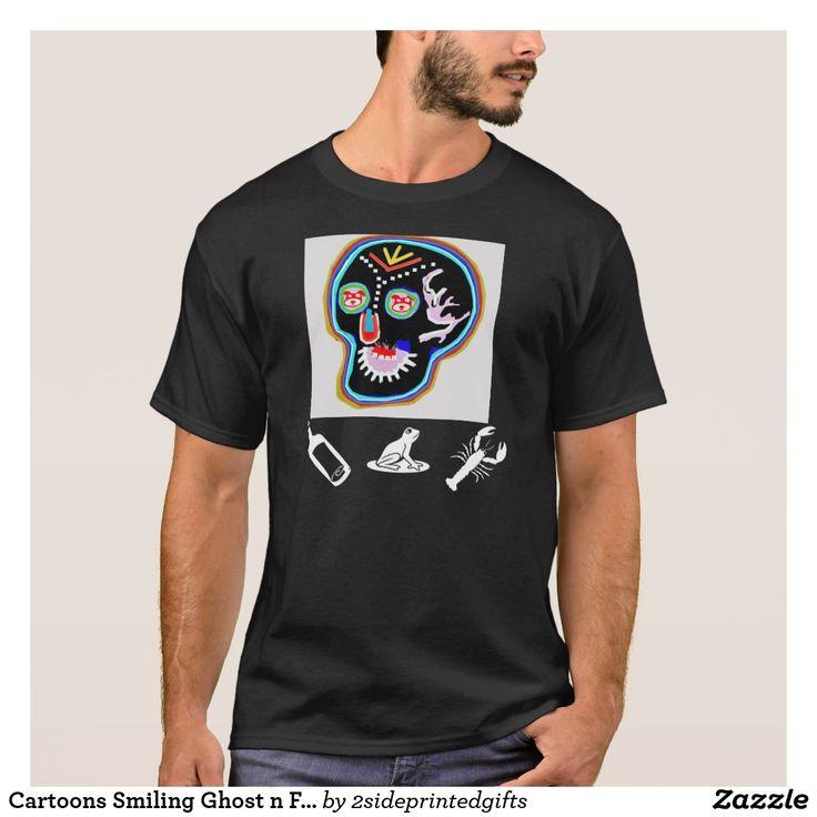 Cartoons Smiling Ghost n Friendly Frog T-Shirt