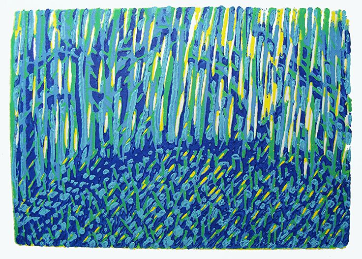 Bluebell Forest Winter by ANGELA MAHER water based inks ~ 4 x 5.5