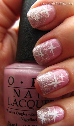 Holiday Nails ~ Pink glitter #nails #sparkly #stars #pink #glitter #holiday