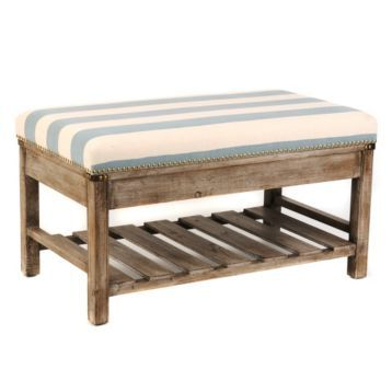 Blue Amp White Striped Weathered Ottoman Products