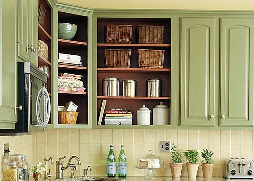 I rather like this soft green. I think I'm going to have to paint the kitchen cabinets...new ones are SO not in my budget!! Removing   the doors is a great idea too.    UPDATE: I did this and it looks fantastic!!