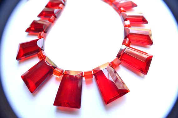 The Goddess Geometric Red Statement Necklace by danaleblancdesigns