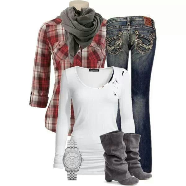 Flannel, jeans, and boots :)