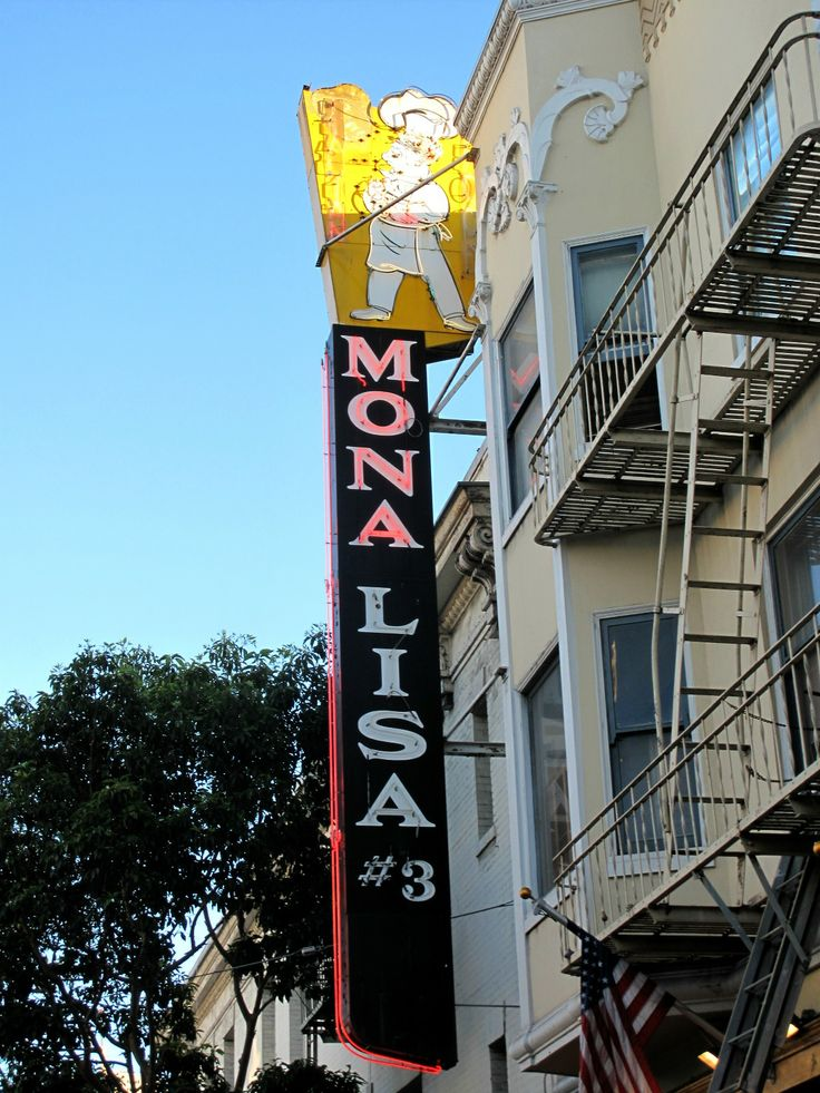 San Francisco Neon Project: Mona Lisa Restaurant. I have a goal of pinning a reinterpretation of Mona Lisa to every one of my boards. There are so many parodies and such diversity, I think this is possible. Here she is as a business dwelling.