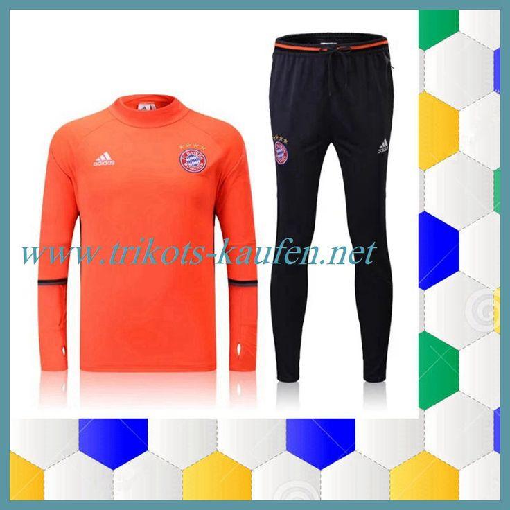 Neuen Bayern München Trainingsanzug Orange 2016 2017 Sale