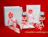 """Набор свадебных аксессуаров с розовыми ромашками и тильда-сердцами """"Любовь"""" (11 предметов)"""