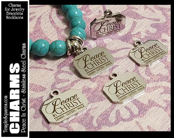 Engraved Peace In Christ 2018 Mutual Theme Charms. Stainless Steel. $1.25 each in packs of 5 or more. $1.65 for a single charm. Use for YW YM, Young Women or Young Men for jewelry Charms for Cell Phones, Zipper Pulls, Keychains, Necklaces, Earrings, Bracelets, Pendants, or Craft Projects. Great for DIY Jewelry projects for any occasion or event. Girls Camp, Secret Sister Gifts, New Beginnings, Birthday Gifts, Christmas Gifts, Accessories, Keychain, Zipper Pull for Scripture Bag, Birthday…