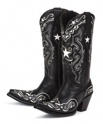 152eef1b088 New leather BLACK & WHITE w/ inlays womens ladies cowboy boots ...