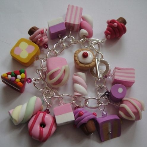Quirky Fimo Girly Sweet & Cake SP Charm Bracelet from Folksy
