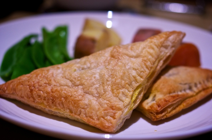 Made these in Home Ec. Vegetarian Triangles. Made with curry powder, they are really nice.