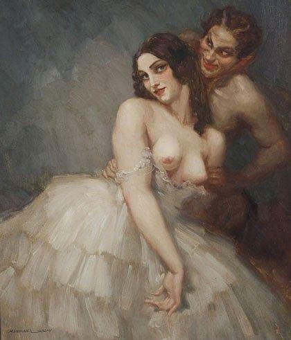 Norman Lindsay Woman with Satyr